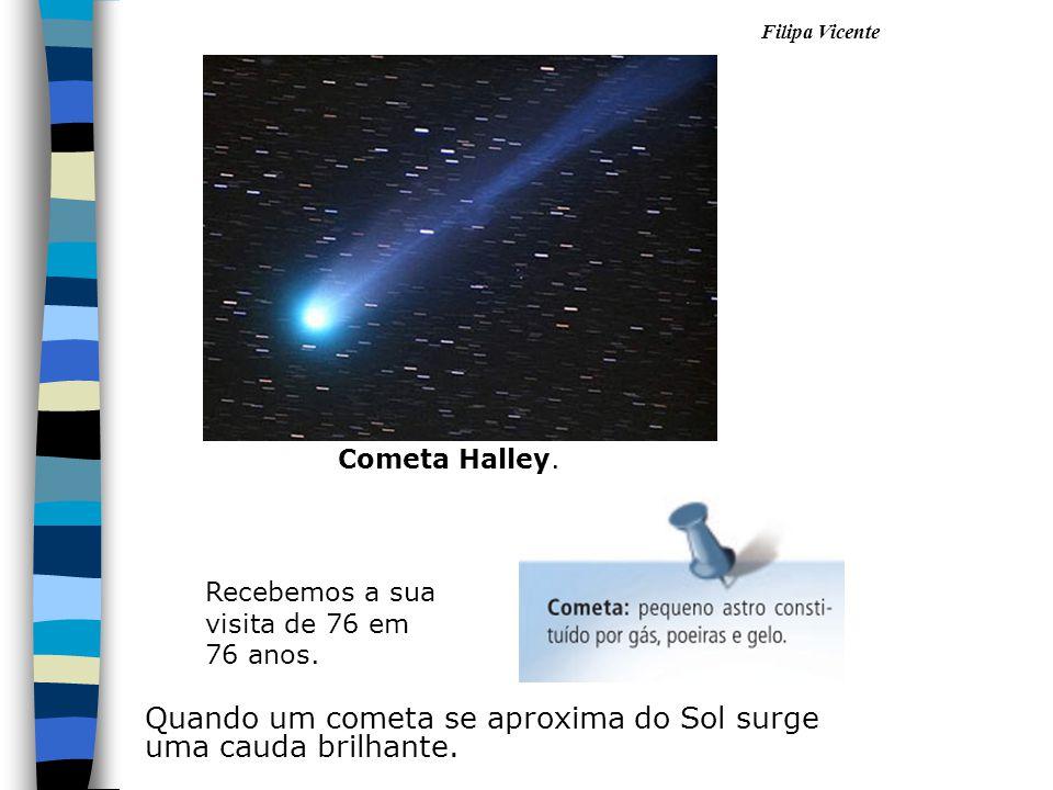 Quando um cometa se aproxima do Sol surge uma cauda brilhante. Cometa Halley. Recebemos a sua visita de 76 em 76 anos.