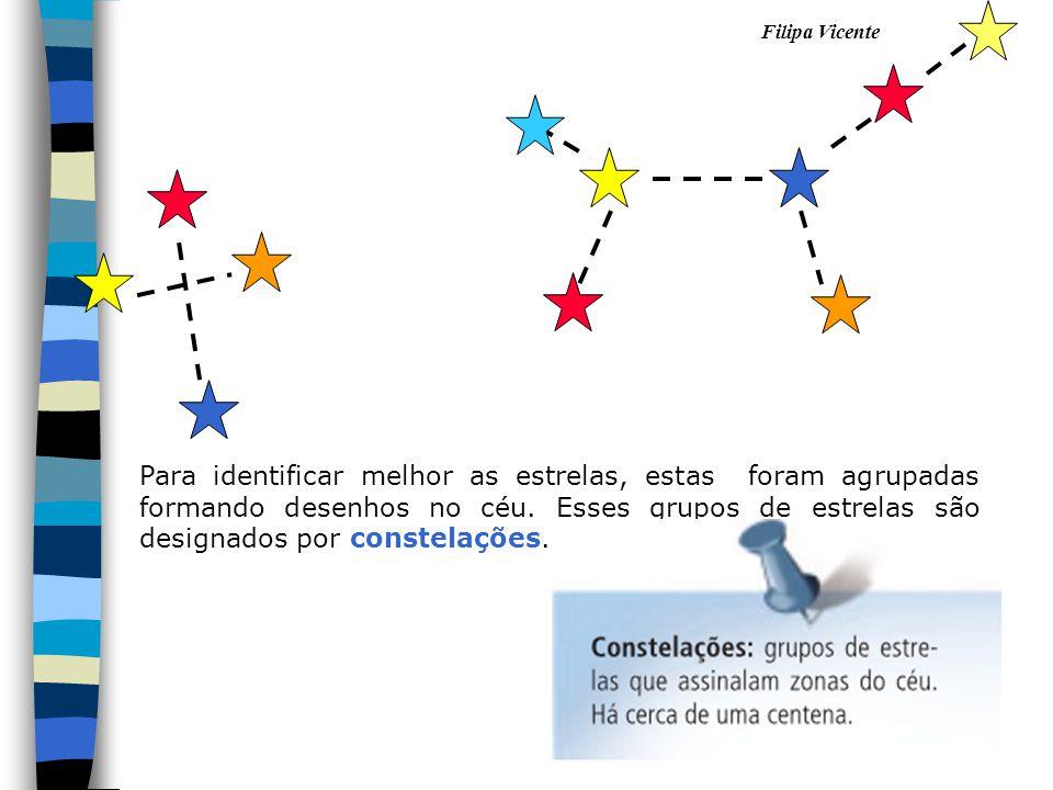 Para identificar melhor as estrelas, estas foram agrupadas formando desenhos no céu. Esses grupos de estrelas são designados por constelações.