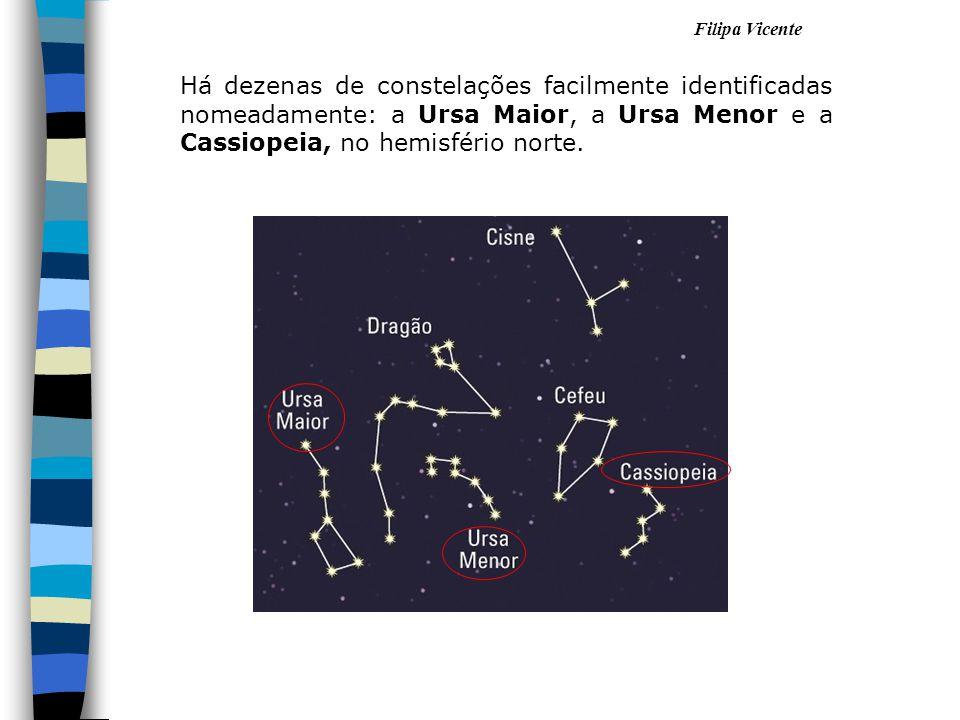 Filipa Vicente Há dezenas de constelações facilmente identificadas nomeadamente: a Ursa Maior, a Ursa Menor e a Cassiopeia, no hemisfério norte. 1