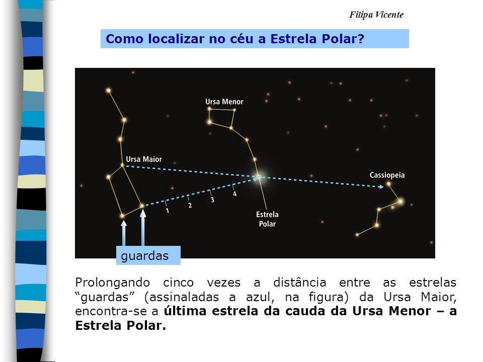 """Filipa Vicente Prolongando cinco vezes a distância entre as estrelas """"guardas"""" (assinaladas a azul, na figura) da Ursa Maior, encontra-se a última est"""