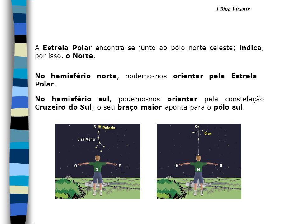 Filipa Vicente A Estrela Polar encontra-se junto ao pólo norte celeste; indica, por isso, o Norte. No hemisfério norte, podemo-nos orientar pela Estre