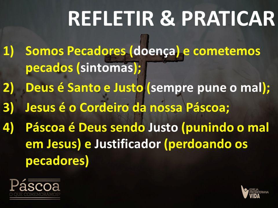 REFLETIR & PRATICAR 1)Somos Pecadores (doença) e cometemos pecados (sintomas); 2)Deus é Santo e Justo (sempre pune o mal); 3)Jesus é o Cordeiro da nos