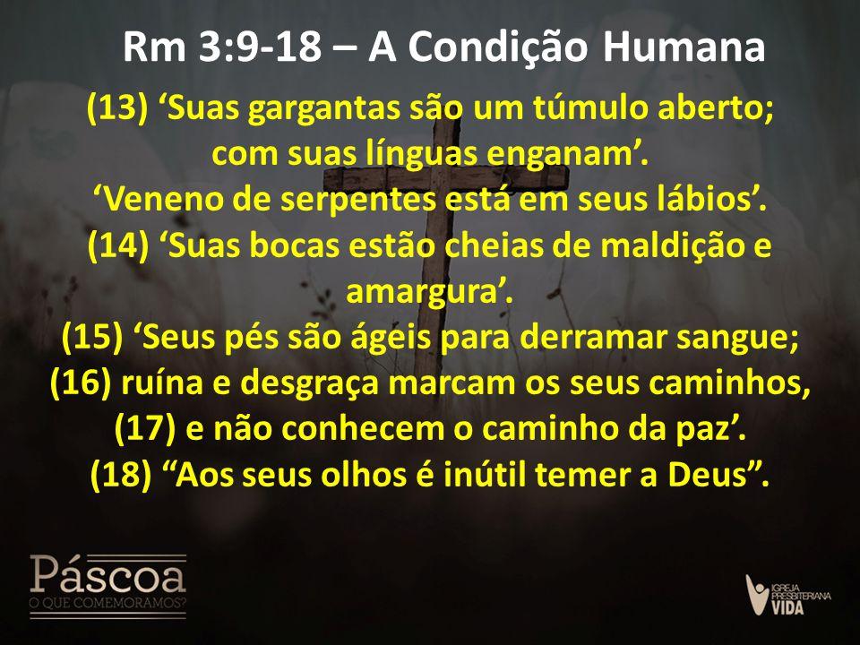 Rm 3:9-18 – A Condição Humana (13) 'Suas gargantas são um túmulo aberto; com suas línguas enganam'. 'Veneno de serpentes está em seus lábios'. (14) 'S