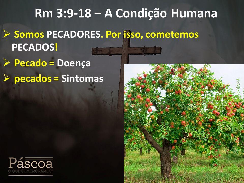 Rm 3:9-18 – A Condição Humana  Somos PECADORES. Por isso, cometemos PECADOS!  Pecado = Doença  pecados = Sintomas