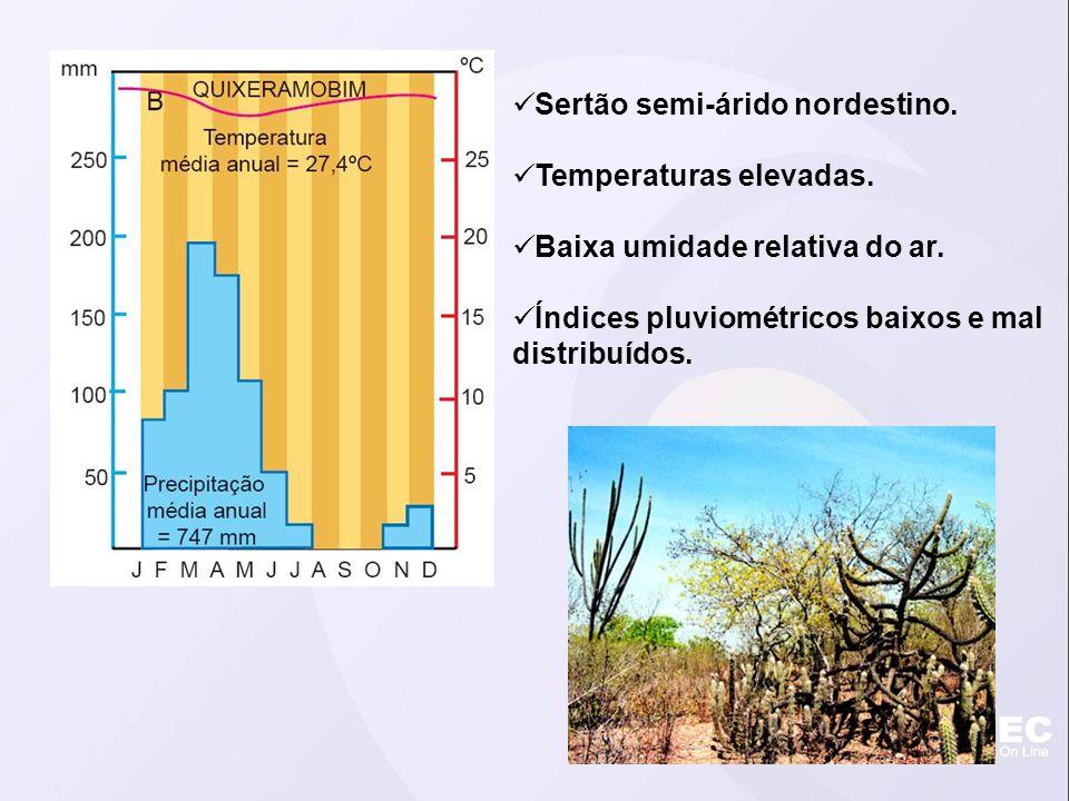 Sertão semi-árido nordestino. Temperaturas elevadas. Baixa umidade relativa do ar. Índices pluviométricos baixos e mal distribuídos.