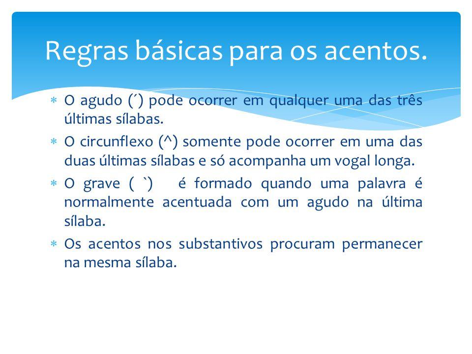  O agudo (´) pode ocorrer em qualquer uma das três últimas sílabas.  O circunflexo (^) somente pode ocorrer em uma das duas últimas sílabas e só aco