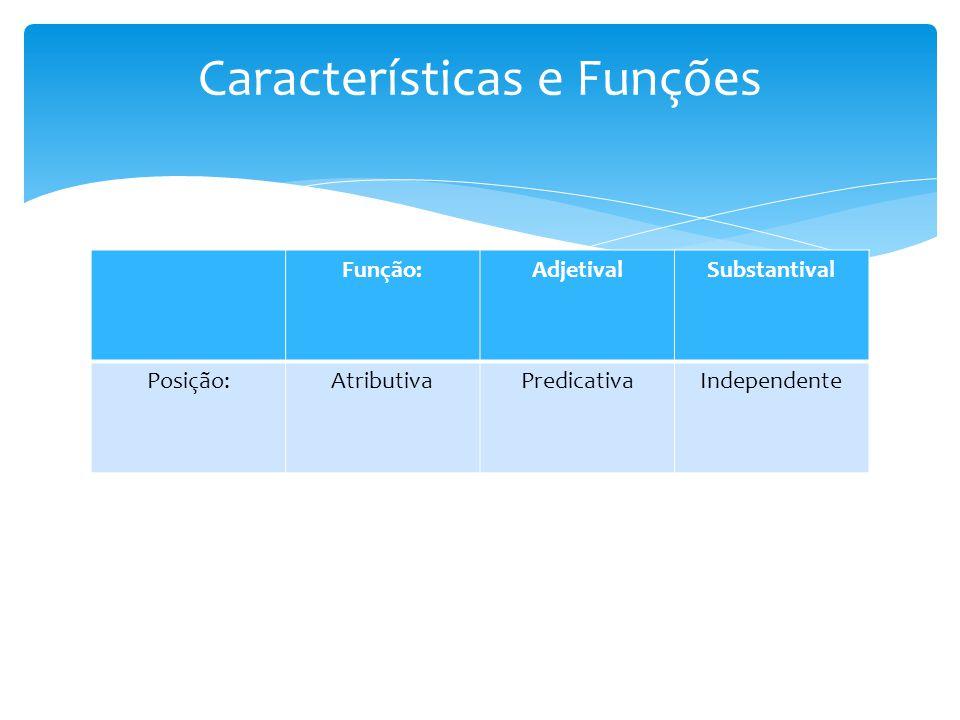 Função:AdjetivalSubstantival Posição:AtributivaPredicativaIndependente Características e Funções