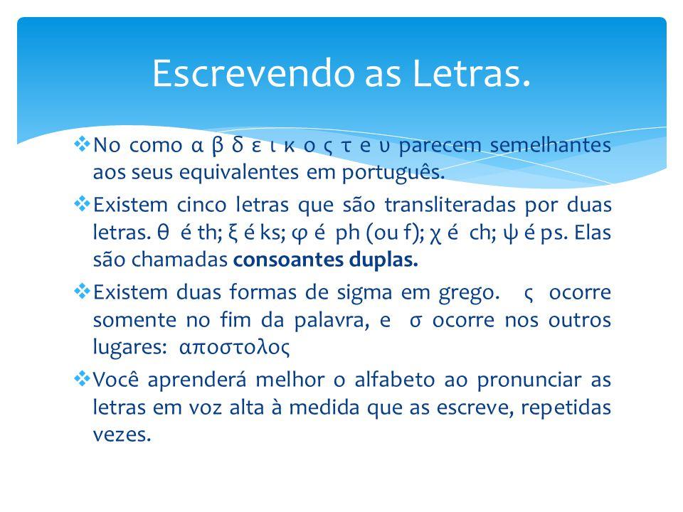  No como α β δ ε ι κ ο ς τ e υ parecem semelhantes aos seus equivalentes em português.  Existem cinco letras que são transliteradas por duas letras.
