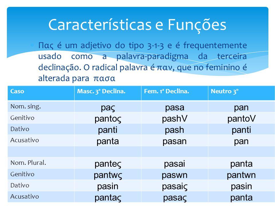  Πας é um adjetivo do tipo 3-1-3 e é frequentemente usado como a palavra-paradigma da terceira declinação. O radical palavra é παν, que no feminino é