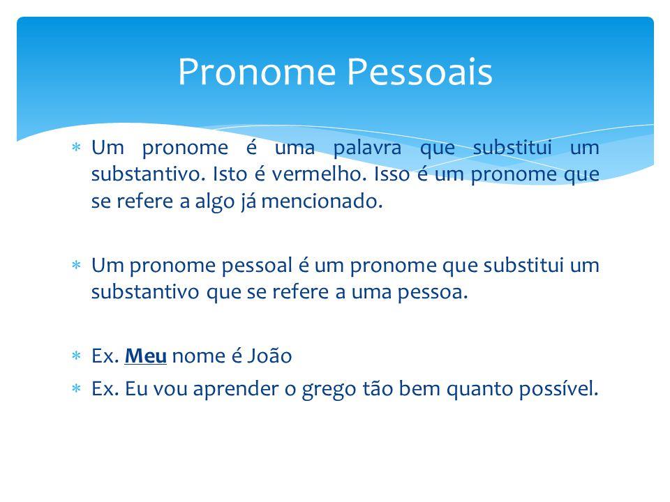  Um pronome é uma palavra que substitui um substantivo. Isto é vermelho. Isso é um pronome que se refere a algo já mencionado.  Um pronome pessoal é