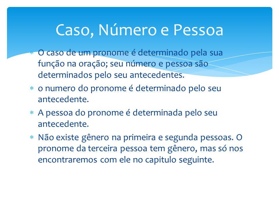  O caso de um pronome é determinado pela sua função na oração; seu número e pessoa são determinados pelo seu antecedentes.  o numero do pronome é de