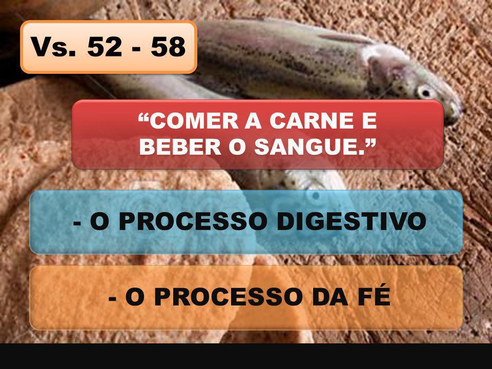 """Vs. 52 - 58 """"COMER A CARNE E BEBER O SANGUE."""" - O PROCESSO DIGESTIVO - O PROCESSO DA FÉ"""