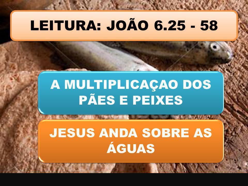 LEITURA: JOÃO 6.25 - 58 A MULTIPLICAÇAO DOS PÃES E PEIXES JESUS ANDA SOBRE AS ÁGUAS