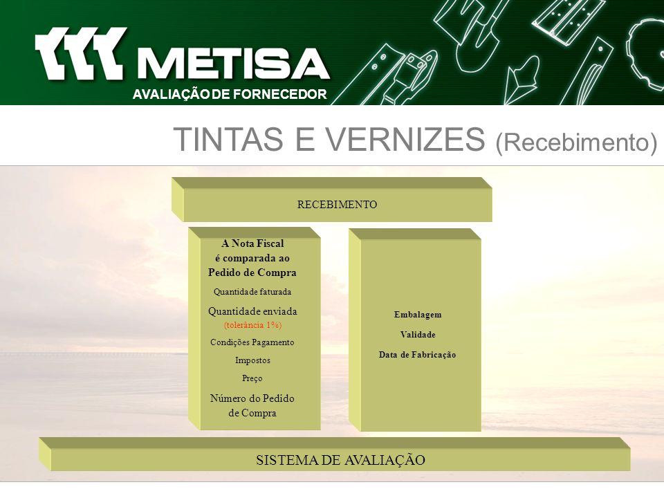 AVALIAÇÃO DE FORNECEDOR TINTAS E VERNIZES (Recebimento)