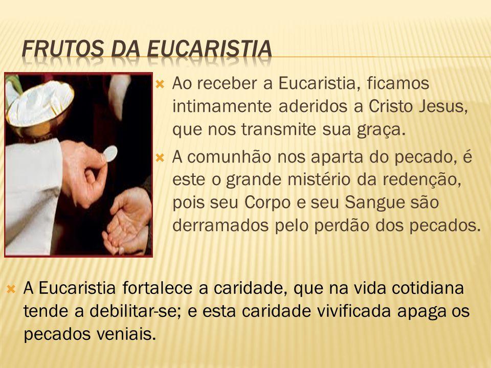  Ao receber a Eucaristia, ficamos intimamente aderidos a Cristo Jesus, que nos transmite sua graça.  A comunhão nos aparta do pecado, é este o grand