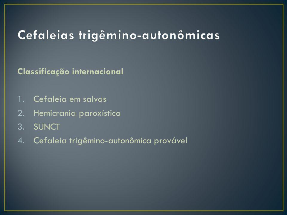 Fatores estimulantes do sistema trigeminovascular Ativação craniana autonômica reflexa Dor referida na primeira e segunda divisões trigeminais; ativação simpática e parassimpática (sudorese, lacrimejamento, congestão nasal) Papel hipotalâmico.