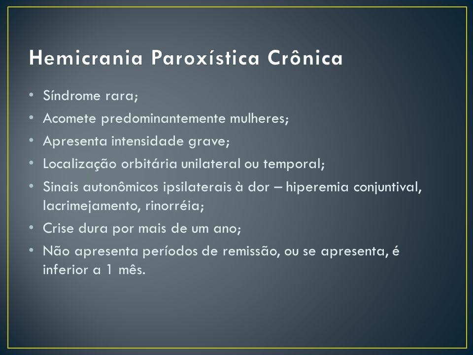 Apresenta as mesmas características da cefaleia hemicrania paroxística crônica, contudo as crises duram de 7 dias a 1 ano; e os períodos de remissão são superiores a 1 mês.