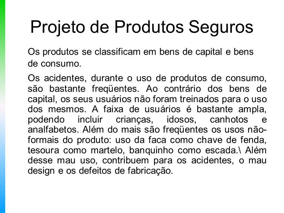 Projeto de Produtos Seguros Os produtos se classificam em bens de capital e bens de consumo. Os acidentes, durante o uso de produtos de consumo, são b