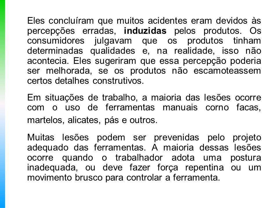 Eles concluíram que muitos acidentes eram devidos às percepções erradas, induzidas pelos produtos. Os consumidores julgavam que os produtos tinham det