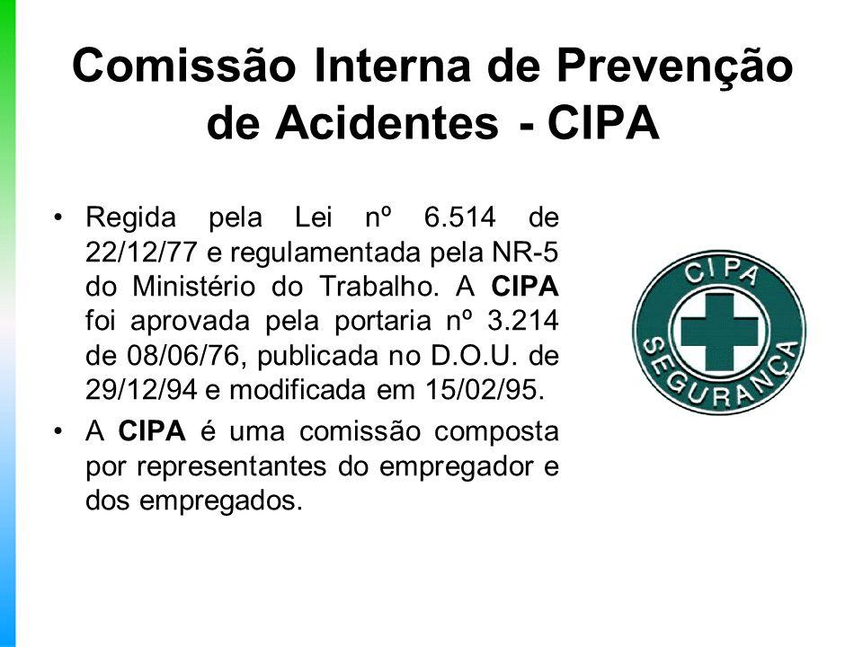 Comissão Interna de Prevenção de Acidentes - CIPA Regida pela Lei nº 6.514 de 22/12/77 e regulamentada pela NR-5 do Ministério do Trabalho. A CIPA foi