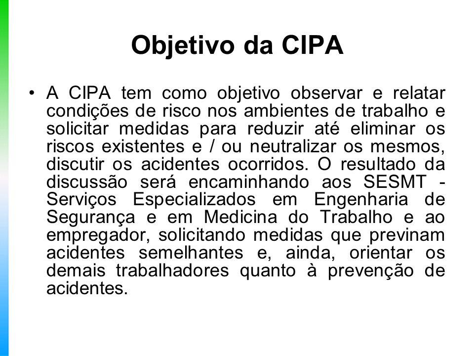 Objetivo da CIPA A CIPA tem como objetivo observar e relatar condições de risco nos ambientes de trabalho e solicitar medidas para reduzir até elimina
