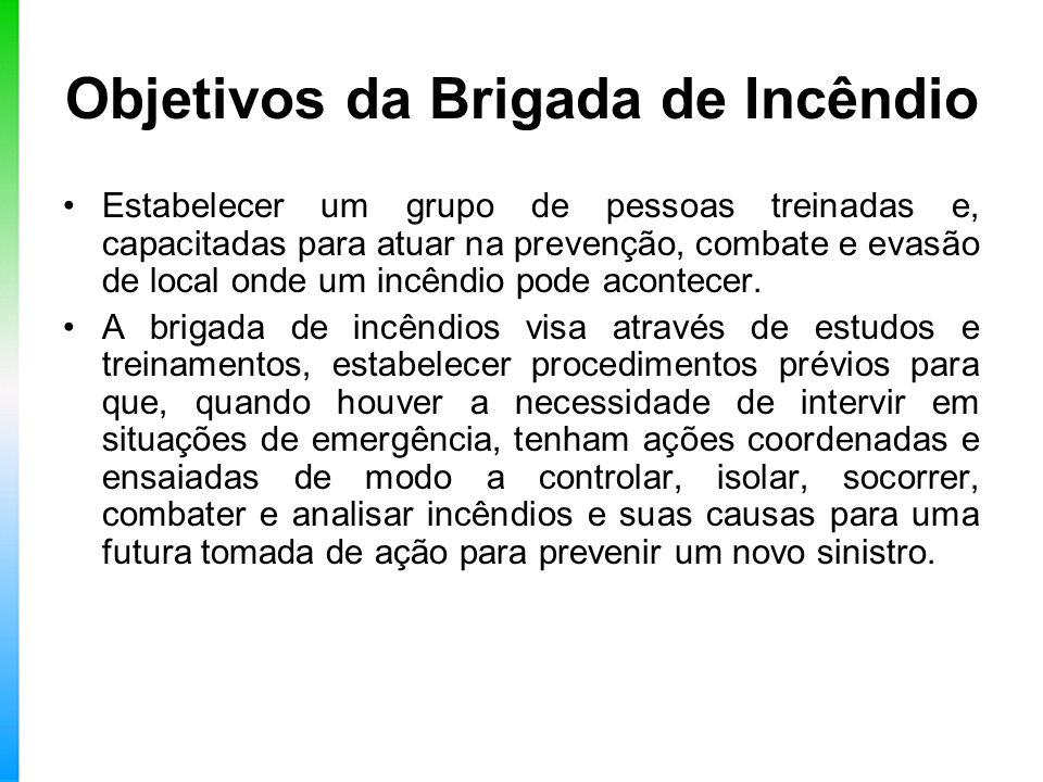 Objetivos da Brigada de Incêndio Estabelecer um grupo de pessoas treinadas e, capacitadas para atuar na prevenção, combate e evasão de local onde um i