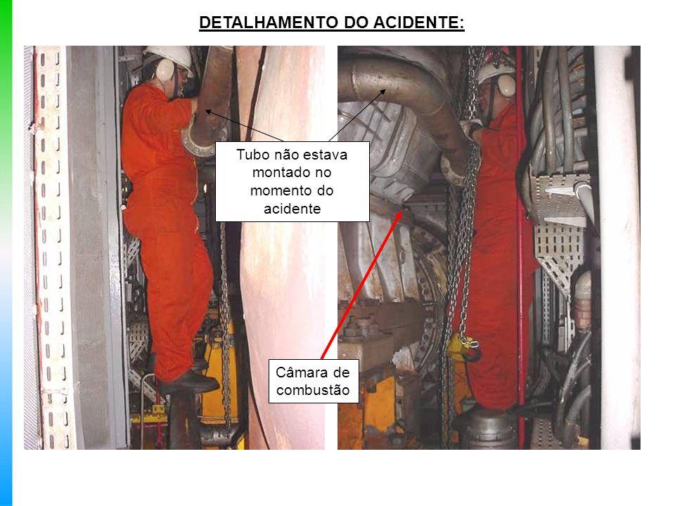 DETALHAMENTO DO ACIDENTE: Câmara de combustão Tubo não estava montado no momento do acidente