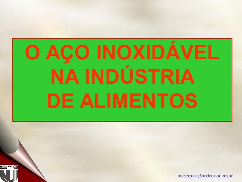 nucleoinox@nucleoinox.org.br O AÇO INOXIDÁVEL NA INDÚSTRIA DE ALIMENTOS