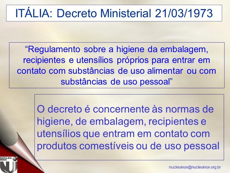"""nucleoinox@nucleoinox.org.br ITÁLIA: Decreto Ministerial 21/03/1973 """"Regulamento sobre a higiene da embalagem, recipientes e utensílios próprios para"""