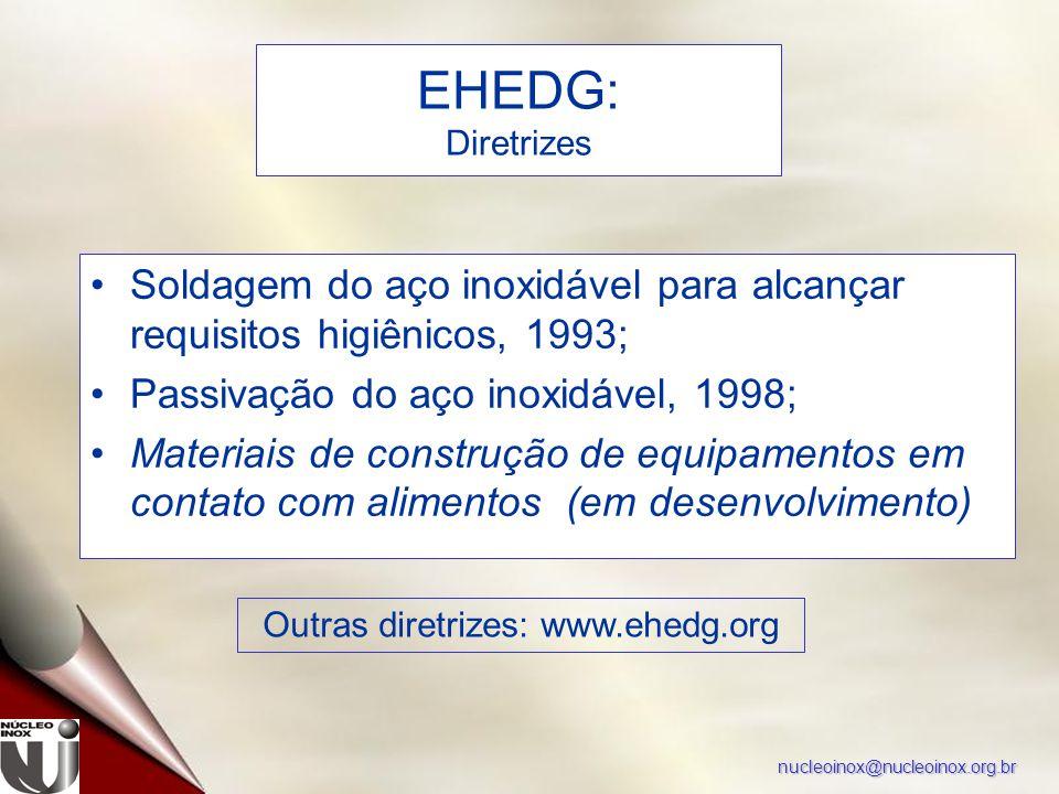 nucleoinox@nucleoinox.org.br Soldagem do aço inoxidável para alcançar requisitos higiênicos, 1993; Passivação do aço inoxidável, 1998; Materiais de co