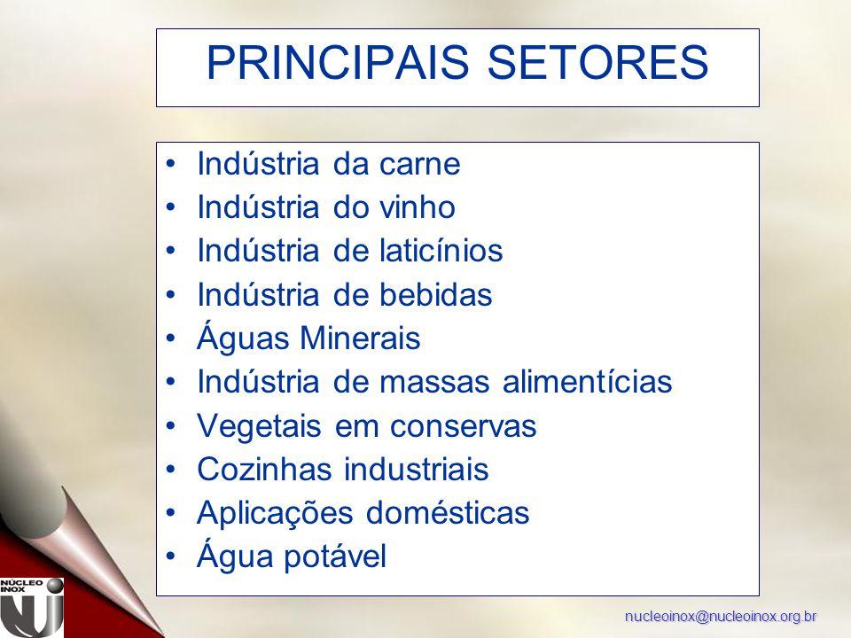 nucleoinox@nucleoinox.org.br PRINCIPAIS SETORES Indústria da carne Indústria do vinho Indústria de laticínios Indústria de bebidas Águas Minerais Indú