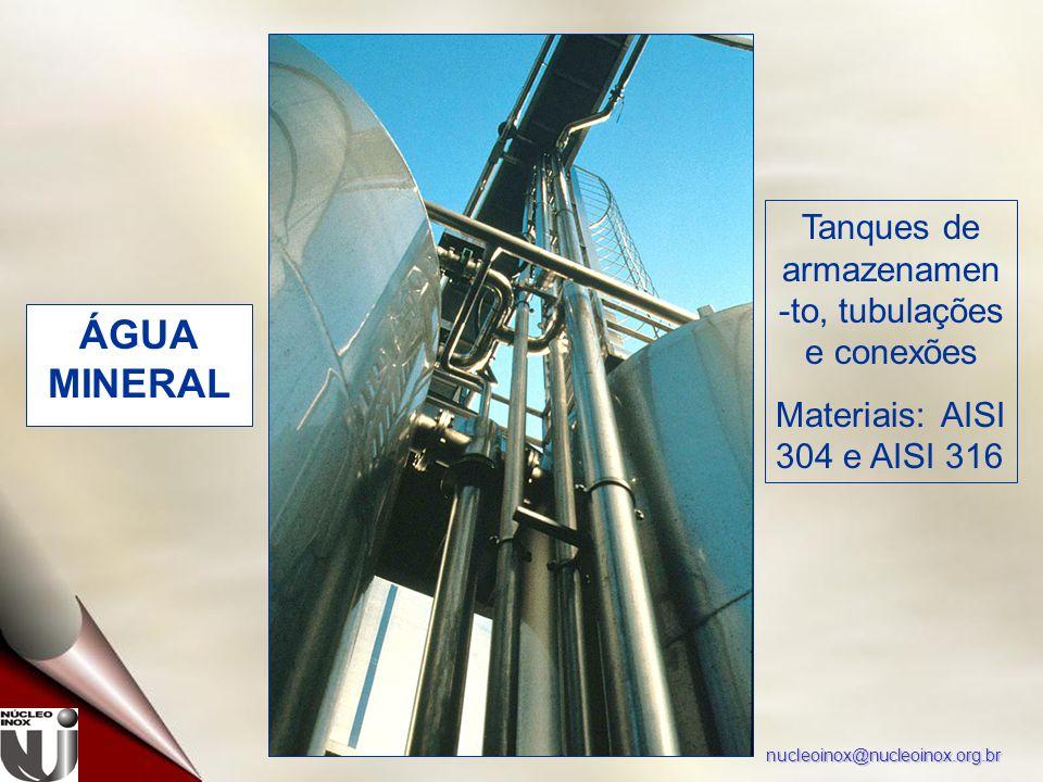 nucleoinox@nucleoinox.org.br ÁGUA MINERAL Tanques de armazenamen -to, tubulações e conexões Materiais: AISI 304 e AISI 316