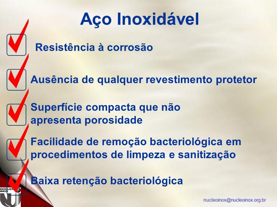 nucleoinox@nucleoinox.org.br Aço Inoxidável Resistência à corrosão Ausência de qualquer revestimento protetor Superfície compacta que não apresenta porosidade Facilidade de remoção bacteriológica em procedimentos de limpeza e sanitização Baixa retenção bacteriológica