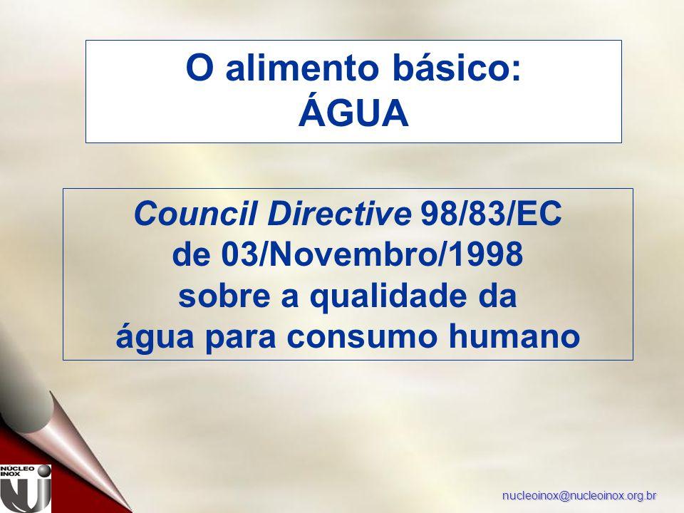 nucleoinox@nucleoinox.org.br O alimento básico: ÁGUA Council Directive 98/83/EC de 03/Novembro/1998 sobre a qualidade da água para consumo humano