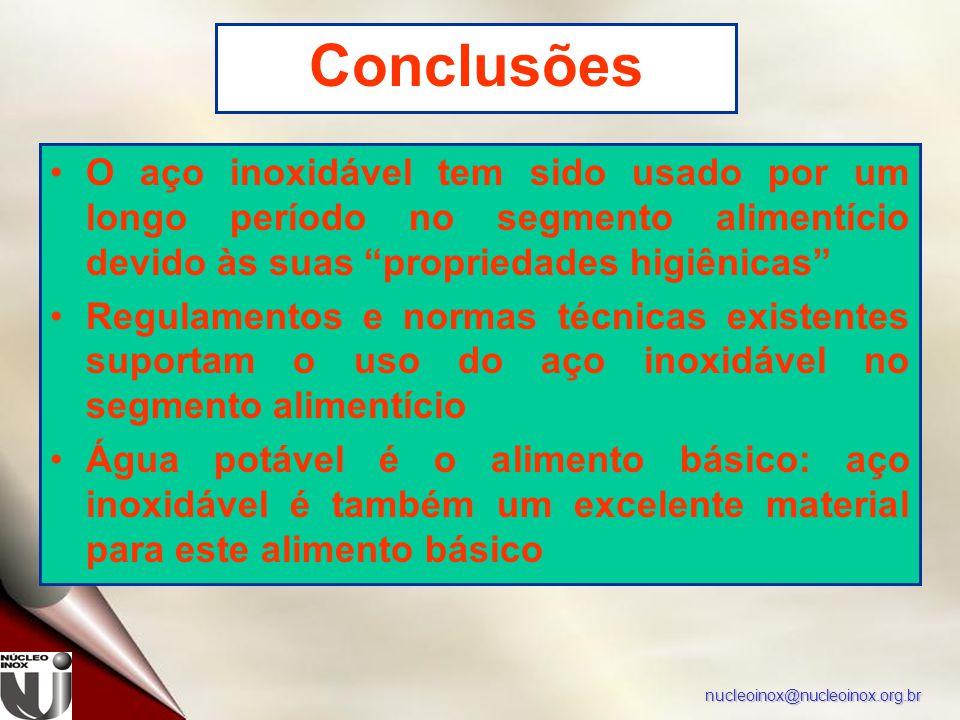 """nucleoinox@nucleoinox.org.br Conclusões O aço inoxidável tem sido usado por um longo período no segmento alimentício devido às suas """"propriedades higi"""