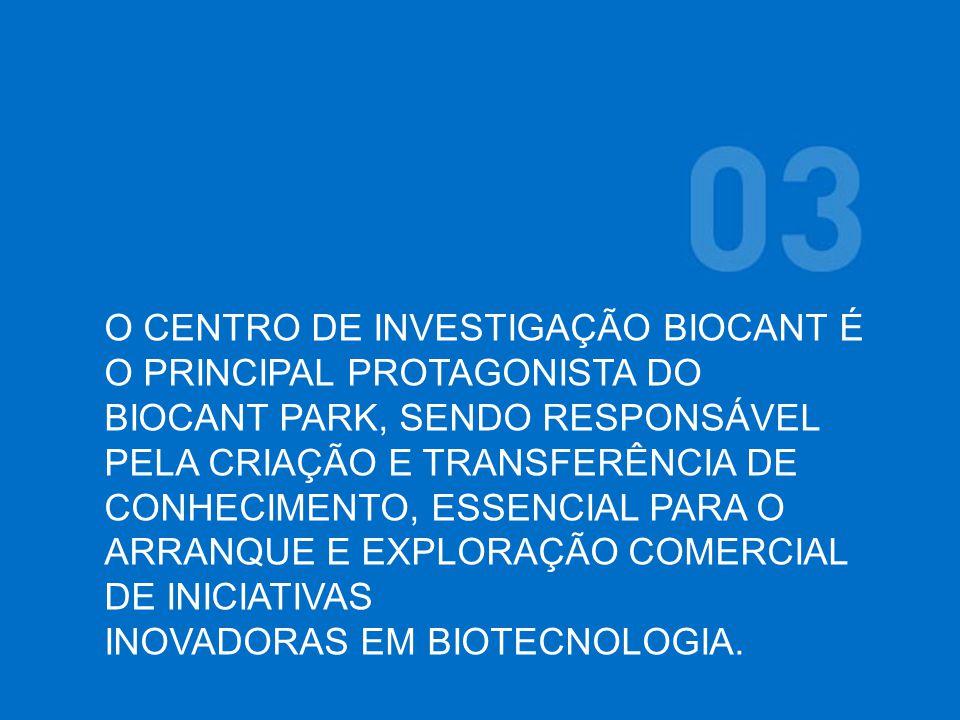 O CENTRO DE INVESTIGAÇÃO BIOCANT É O PRINCIPAL PROTAGONISTA DO BIOCANT PARK, SENDO RESPONSÁVEL PELA CRIAÇÃO E TRANSFERÊNCIA DE CONHECIMENTO, ESSENCIAL PARA O ARRANQUE E EXPLORAÇÃO COMERCIAL DE INICIATIVAS INOVADORAS EM BIOTECNOLOGIA.