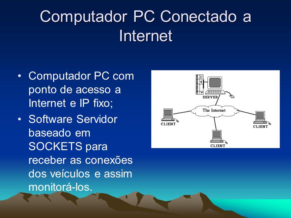 Computador PC Conectado a Internet Computador PC com ponto de acesso a Internet e IP fixo; Software Servidor baseado em SOCKETS para receber as conexões dos veículos e assim monitorá-los.