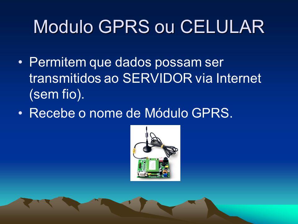 Modulo GPRS ou CELULAR Permitem que dados possam ser transmitidos ao SERVIDOR via Internet (sem fio).