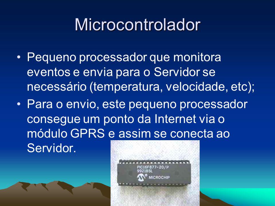 Microcontrolador Pequeno processador que monitora eventos e envia para o Servidor se necessário (temperatura, velocidade, etc); Para o envio, este pequeno processador consegue um ponto da Internet via o módulo GPRS e assim se conecta ao Servidor.