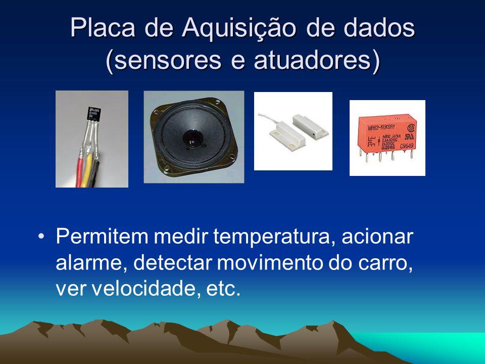 Placa de Aquisição de dados (sensores e atuadores) Permitem medir temperatura, acionar alarme, detectar movimento do carro, ver velocidade, etc.
