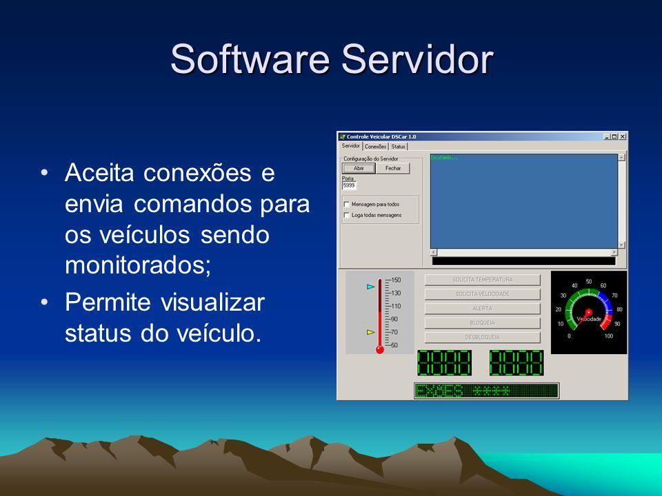 Software Servidor Aceita conexões e envia comandos para os veículos sendo monitorados; Permite visualizar status do veículo.