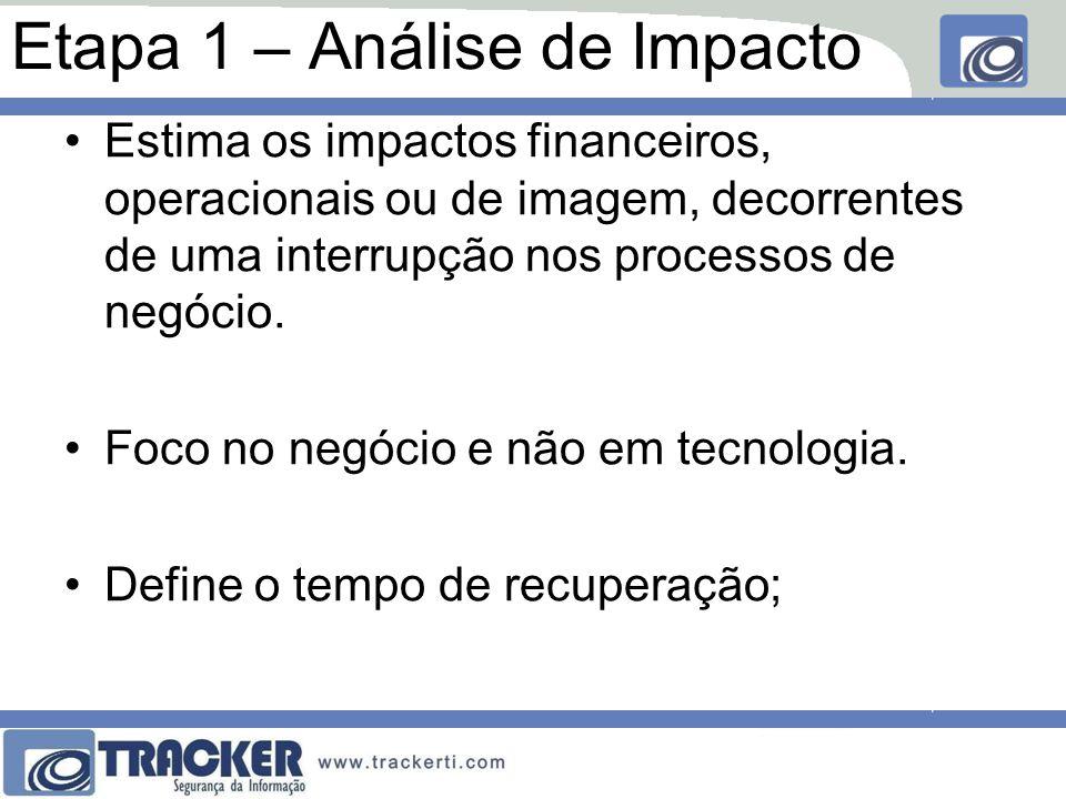 Etapa 1 – Análise de Impacto Estima os impactos financeiros, operacionais ou de imagem, decorrentes de uma interrupção nos processos de negócio. Foco