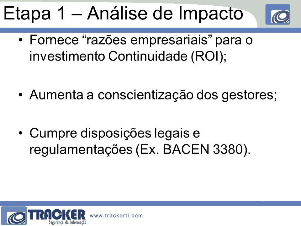 Etapa 1 – Análise de Impacto Fornece razões empresariais para o investimento Continuidade (ROI); Aumenta a conscientização dos gestores; Cumpre disposições legais e regulamentações (Ex.