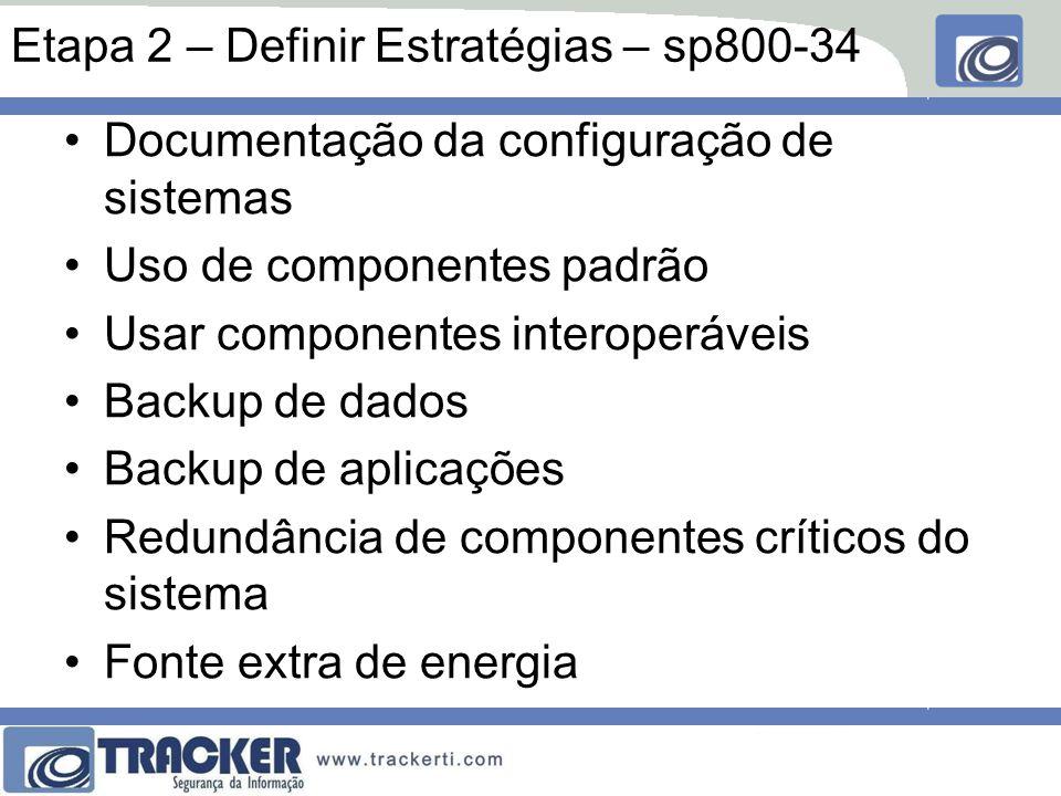 Etapa 2 – Definir Estratégias – sp800-34 Documentação da configuração de sistemas Uso de componentes padrão Usar componentes interoperáveis Backup de dados Backup de aplicações Redundância de componentes críticos do sistema Fonte extra de energia