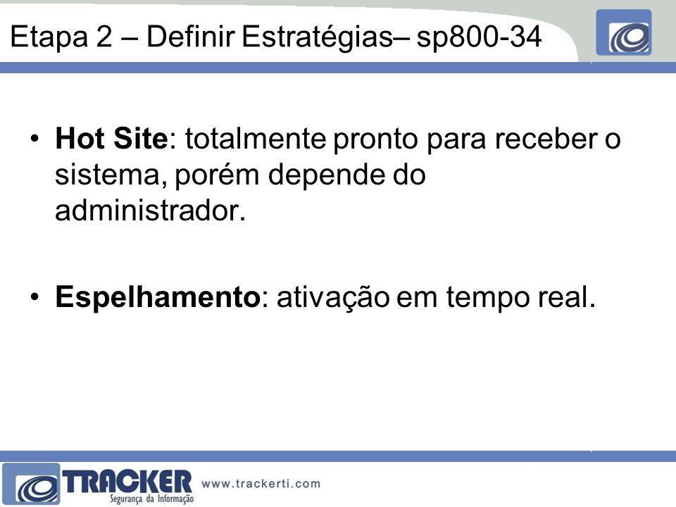 Etapa 2 – Definir Estratégias– sp800-34 Hot Site: totalmente pronto para receber o sistema, porém depende do administrador. Espelhamento: ativação em