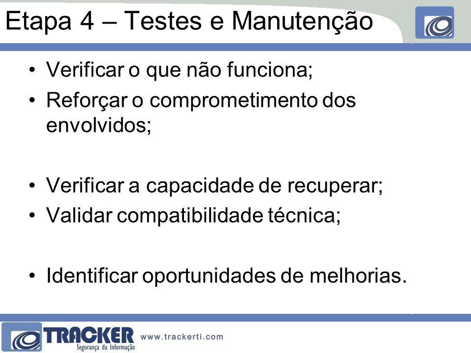Etapa 4 – Testes e Manutenção Verificar o que não funciona; Reforçar o comprometimento dos envolvidos; Verificar a capacidade de recuperar; Validar compatibilidade técnica; Identificar oportunidades de melhorias.