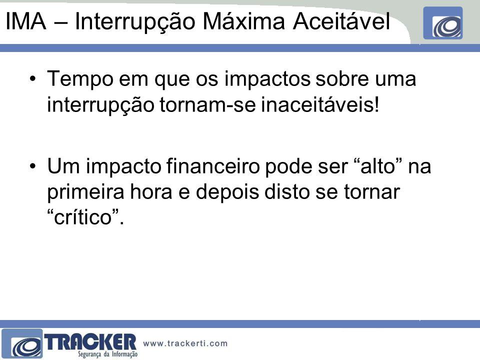 """IMA – Interrupção Máxima Aceitável Tempo em que os impactos sobre uma interrupção tornam-se inaceitáveis! Um impacto financeiro pode ser """"alto"""" na pri"""