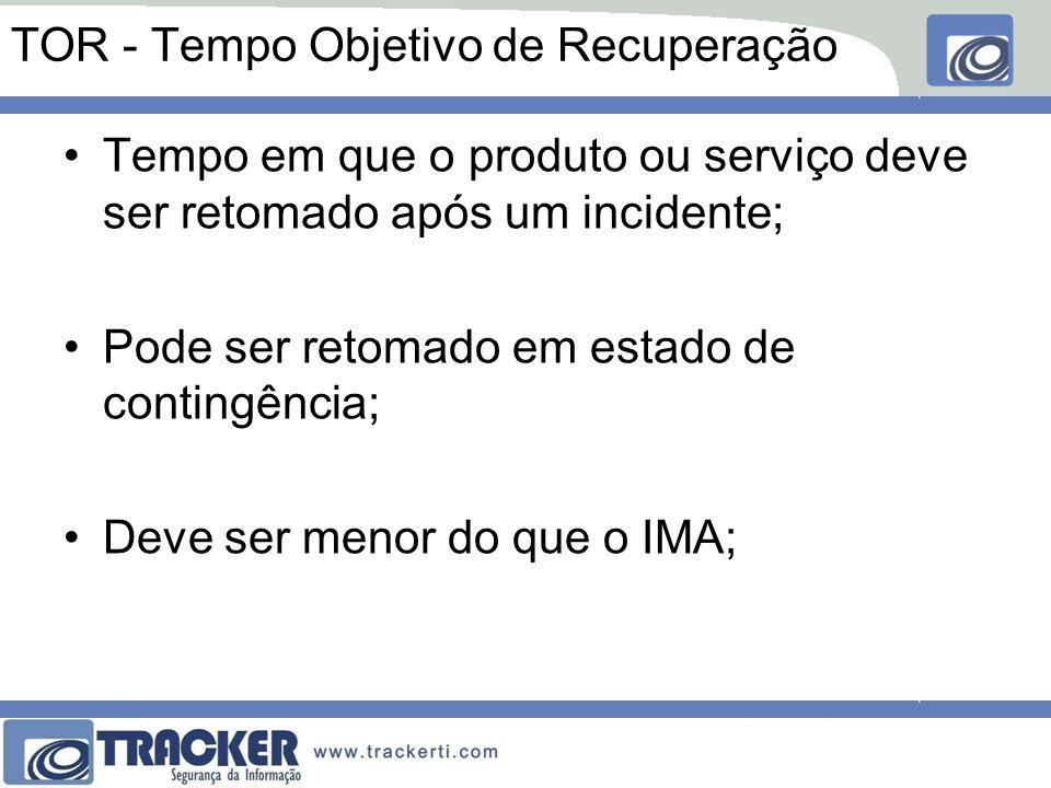 TOR - Tempo Objetivo de Recuperação Tempo em que o produto ou serviço deve ser retomado após um incidente; Pode ser retomado em estado de contingência; Deve ser menor do que o IMA;