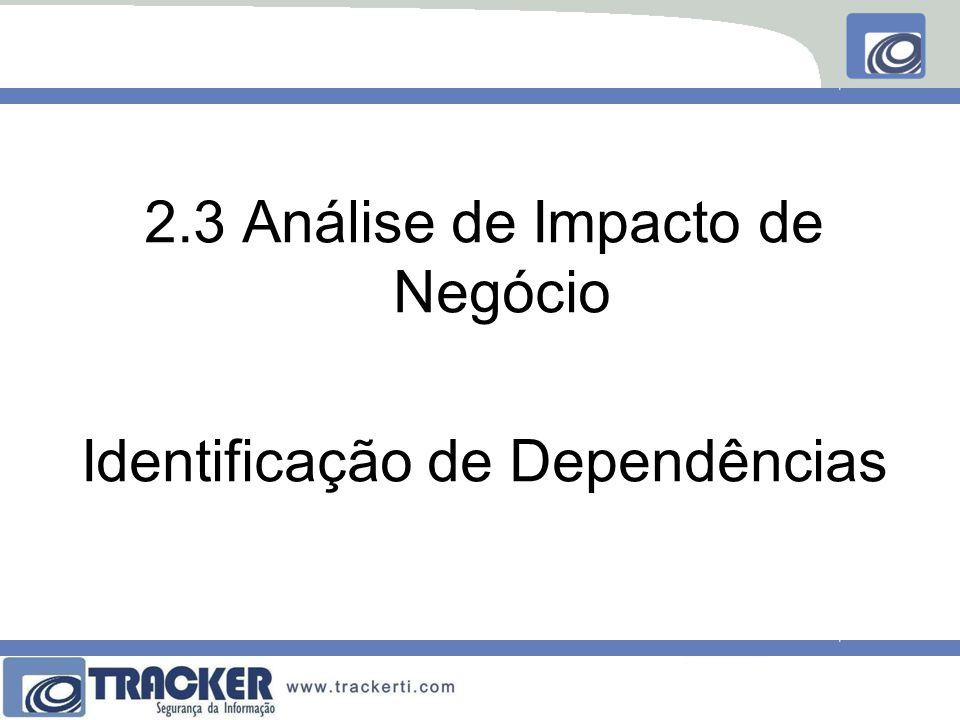 2.3 Análise de Impacto de Negócio Identificação de Dependências