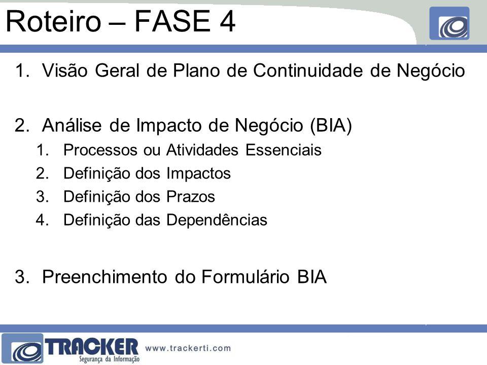 Roteiro – FASE 4 1.Visão Geral de Plano de Continuidade de Negócio 2.Análise de Impacto de Negócio (BIA) 1.Processos ou Atividades Essenciais 2.Definição dos Impactos 3.Definição dos Prazos 4.Definição das Dependências 3.Preenchimento do Formulário BIA